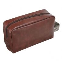 Jacob Jones 73299 Tan Washbag With Brown Checkered Cotton Strap